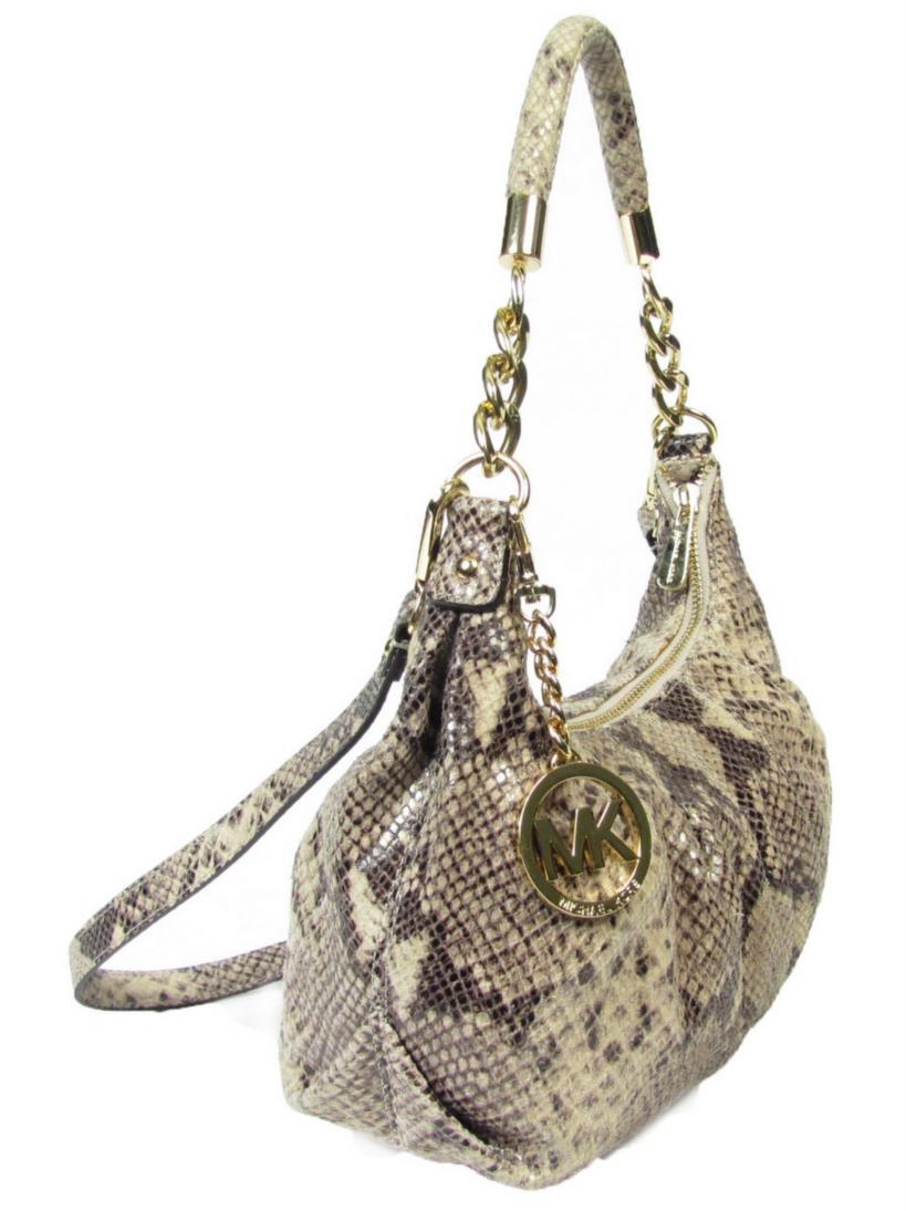 Used Michael Kors Handbags >> Michael Kors Beige Snakeskin Embossed Leather Purse ...