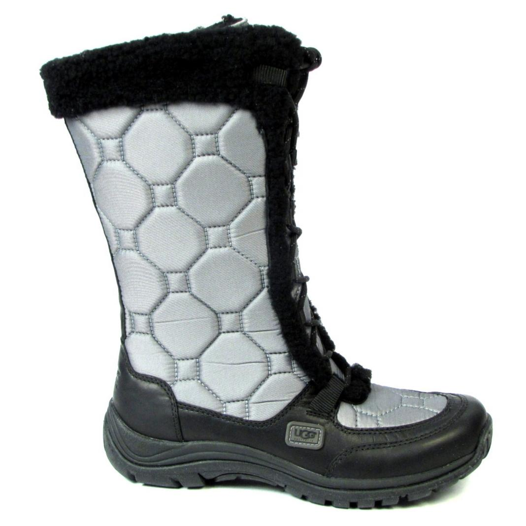 New Ugg Australia Snowpeak Winter Boots 8 Gray Quilted