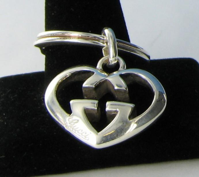 2439f98aeb28f Details about Gucci Love Britt Heart Key Ring Sterling Silver GG Guccisima  NWT  425