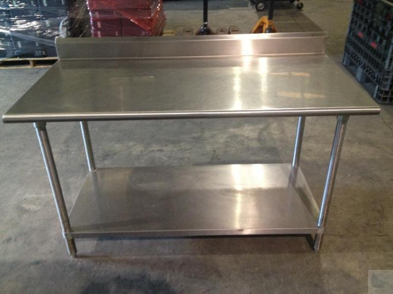 5 39 Stainless Steel Commercial Kitchen Counter With Table And Splashguard Ebay