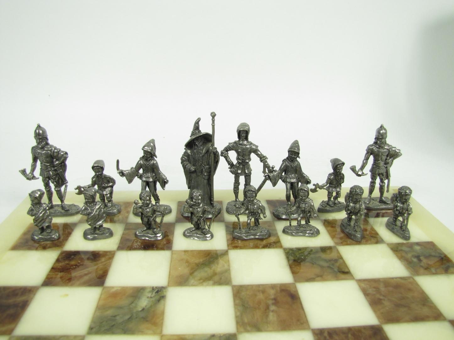 Lord Of The Rings Metal Figurines Chess Set Marble Board