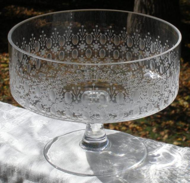 Rosenthal studio crystal romance etched footed bowl centerpiece htf ebay - Footed bowl centerpiece ...