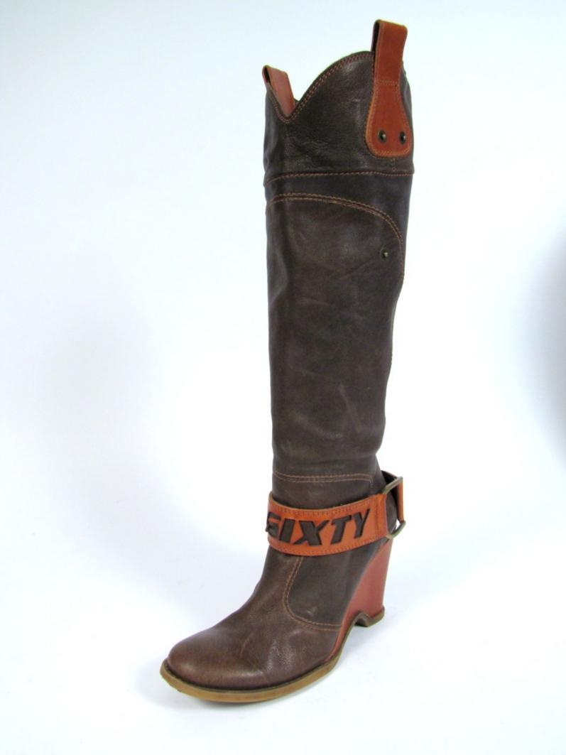 miss sixty brown leather wedge heel boots 7 knee high