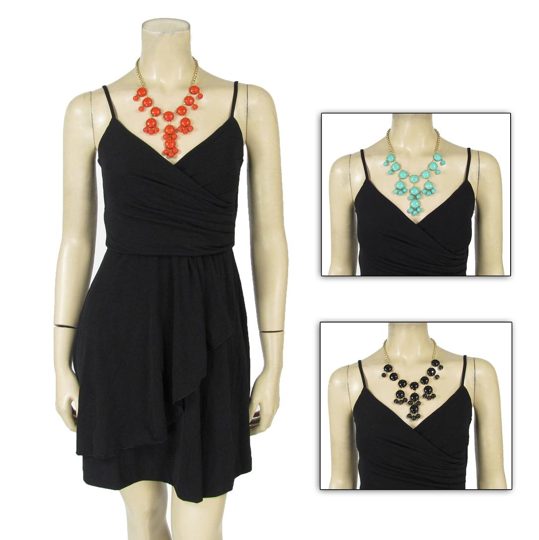 Slinky-Little-Black-Stretch-Dress-Petite-and-Bubble-Statement-Necklace-Outfit