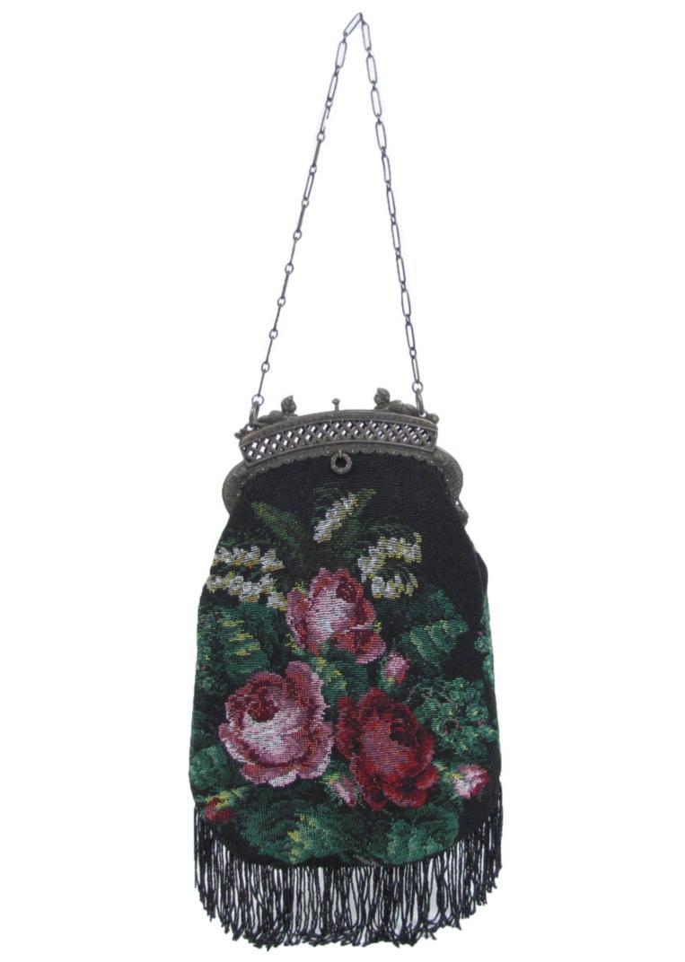 antique vintage micro beaded frame purse bag handbag