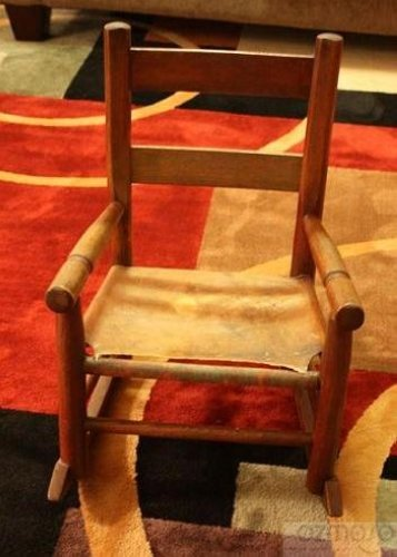 ... Original Childs Wood Primitive Cowhide Leather Seat Rocking Chair