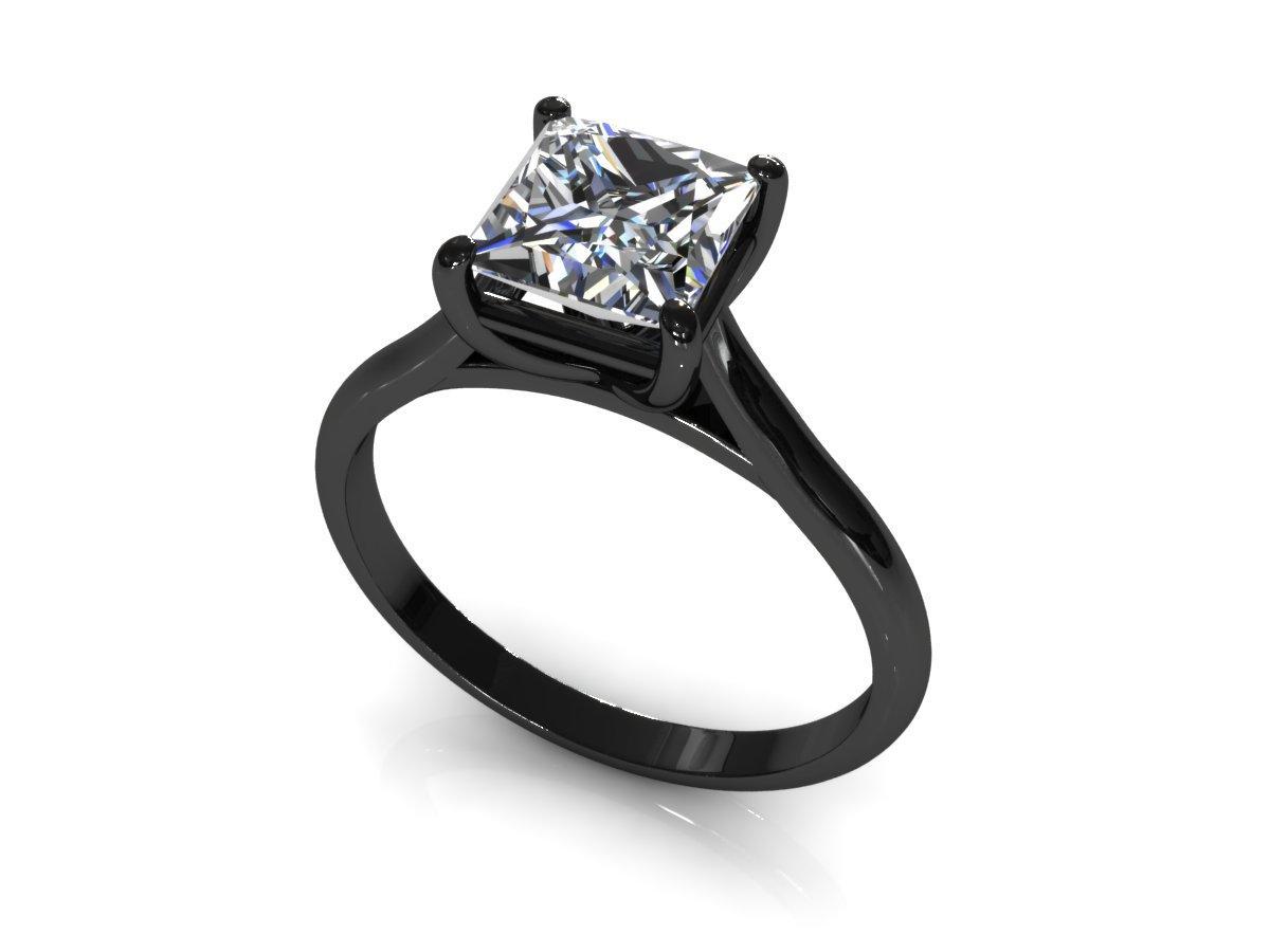 1 ct princess cut solitaire engagement ring 14k