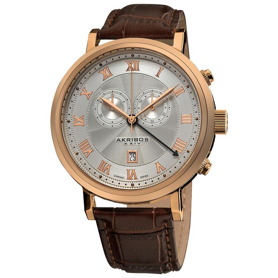 Akribos xxiv ak591rg swiss chronograph date roman numerals rosetone mens watch ebay for Akribos watches