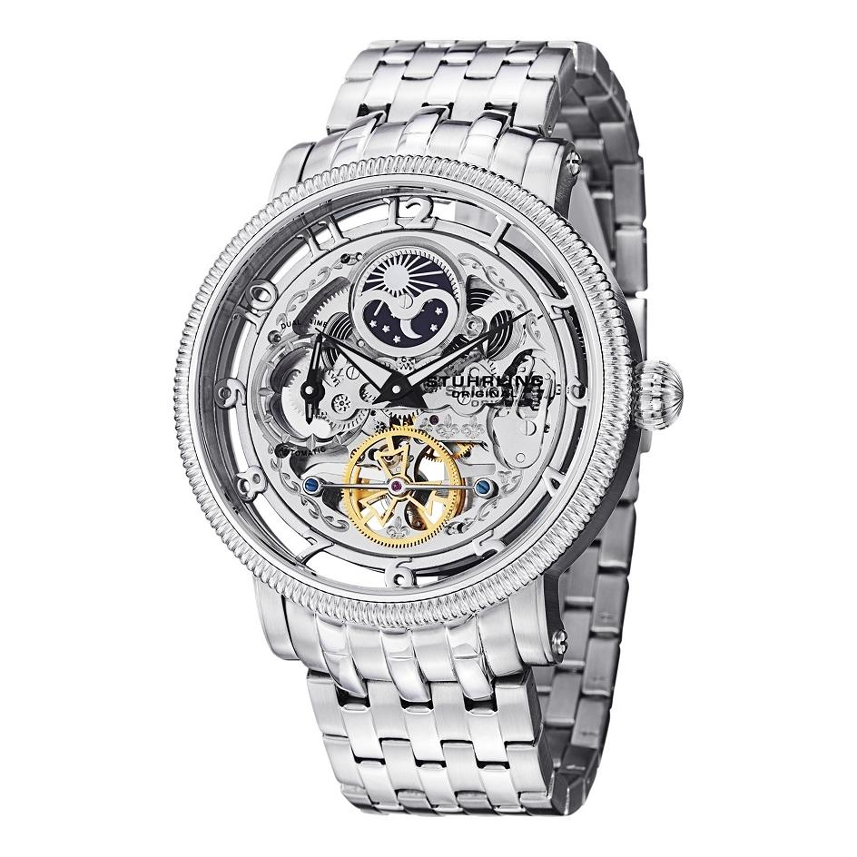 Stuhrling 411 33112 Symphony DT Automatic Skeleton Stainless Steel Mens Watch EBay