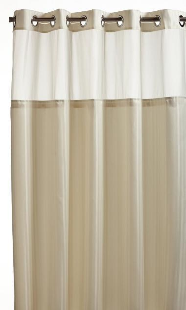 "Hookless Herringbone Built in Fabric Liner Fabric Shower Curtain 71"" x ..."
