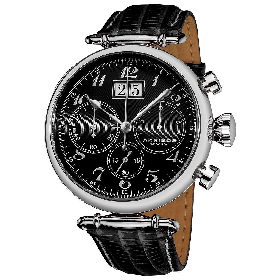 Akribos xxiv ak628bk chronograph date leather strap silvertone black mens watch ebay for Akribos watches