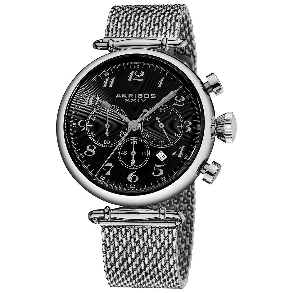 Akribos Iv Ak627ssb Chronograph Stainless Steel Mesh Bracelet Mens Watch