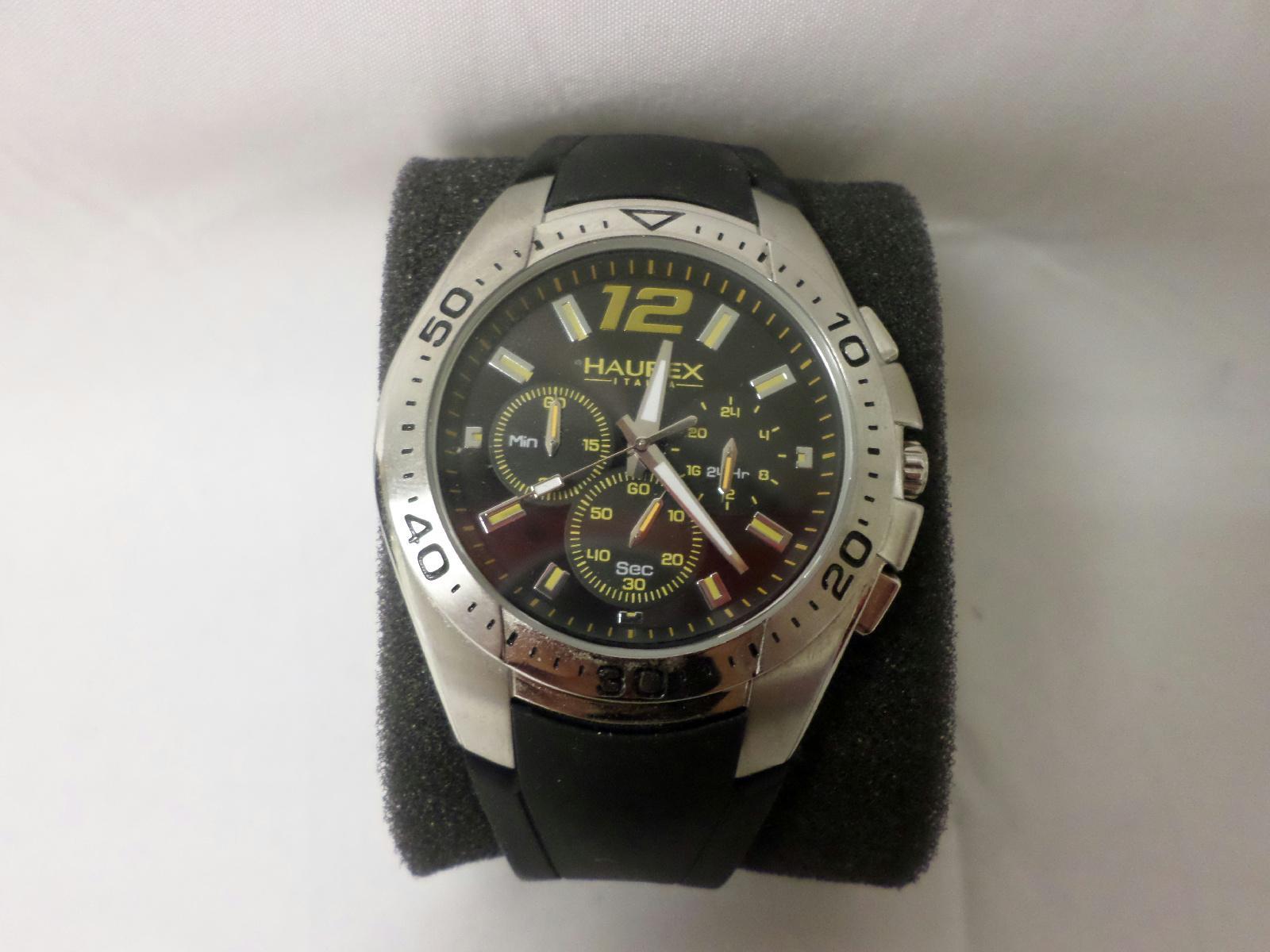 Haurex italy men 39 s 3a384uny speed black yellow chronograph watch ebay for Haurex watches