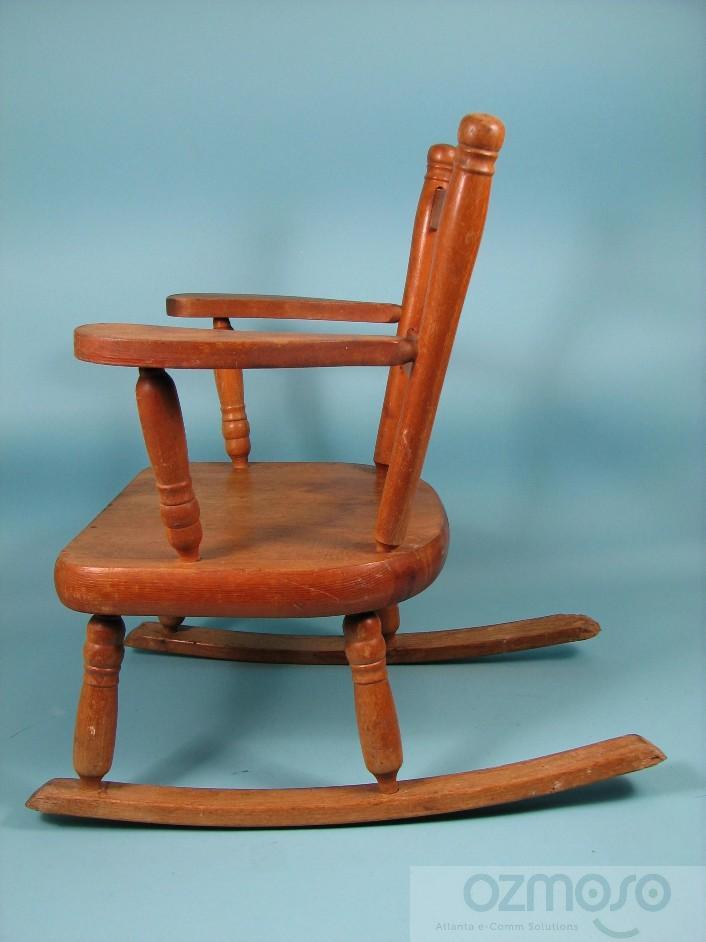 Antique Original Childs Wooden Oak Primitive Rocking Chair