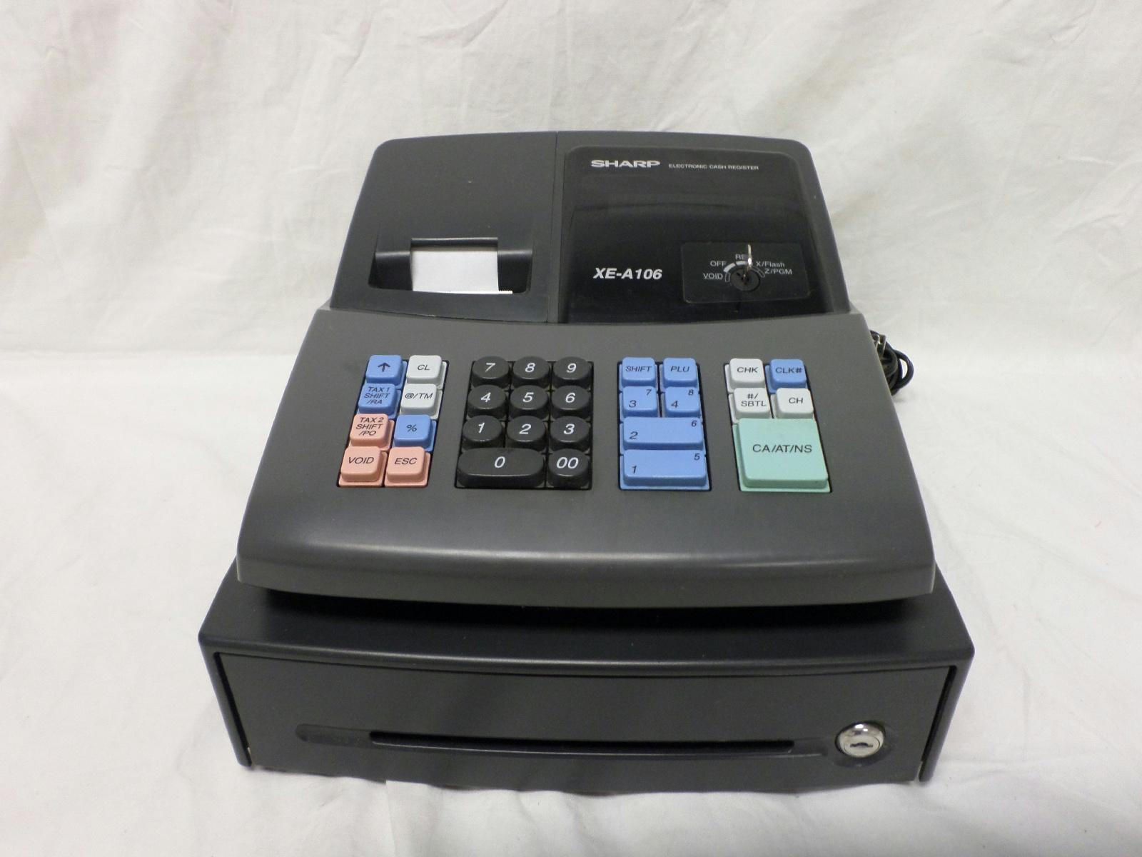 sharp xe a106 electronic cash register black ebay. Black Bedroom Furniture Sets. Home Design Ideas