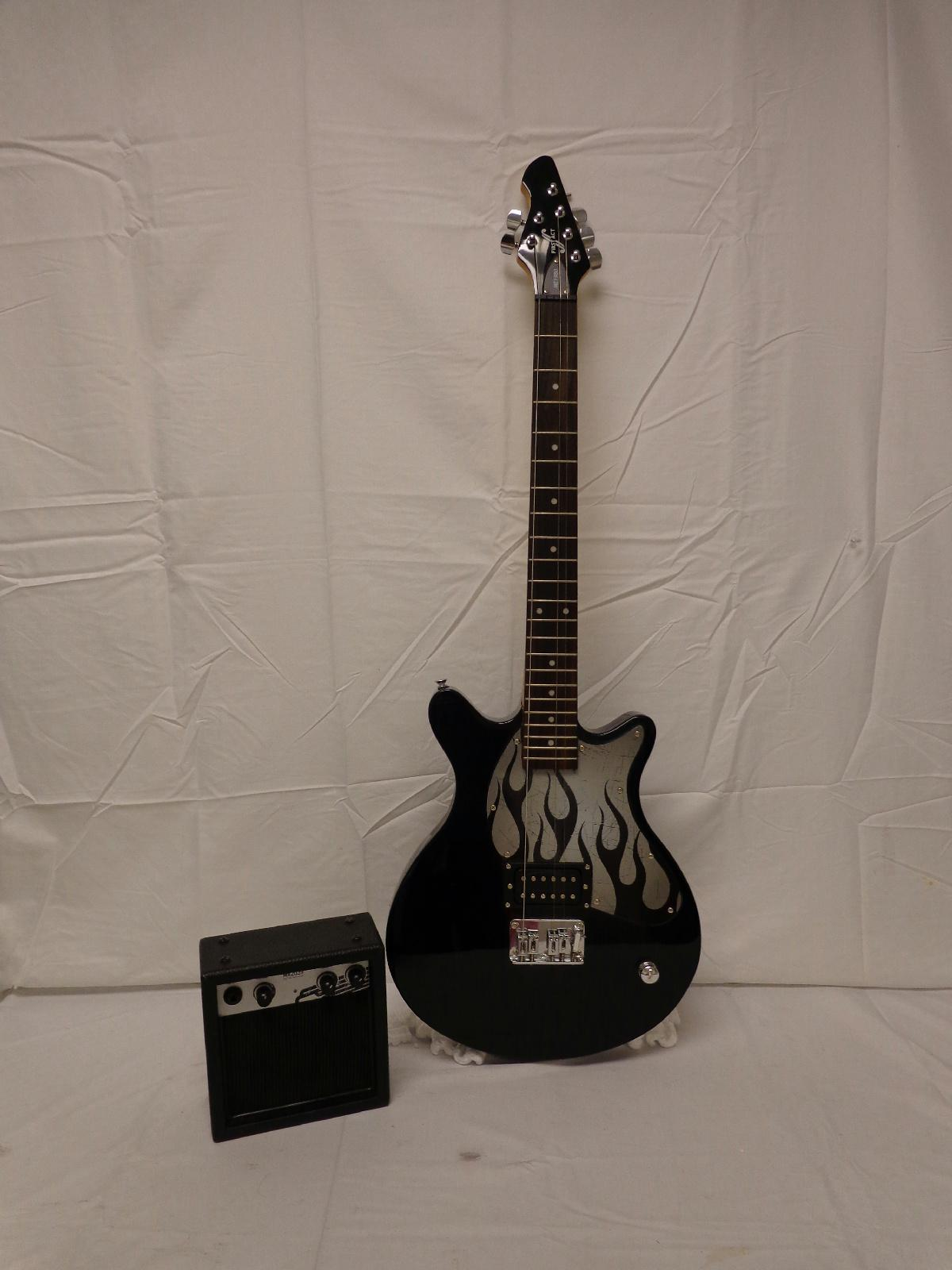 first act me 1980 electric guitar pack black with guitar amplifier ebay. Black Bedroom Furniture Sets. Home Design Ideas