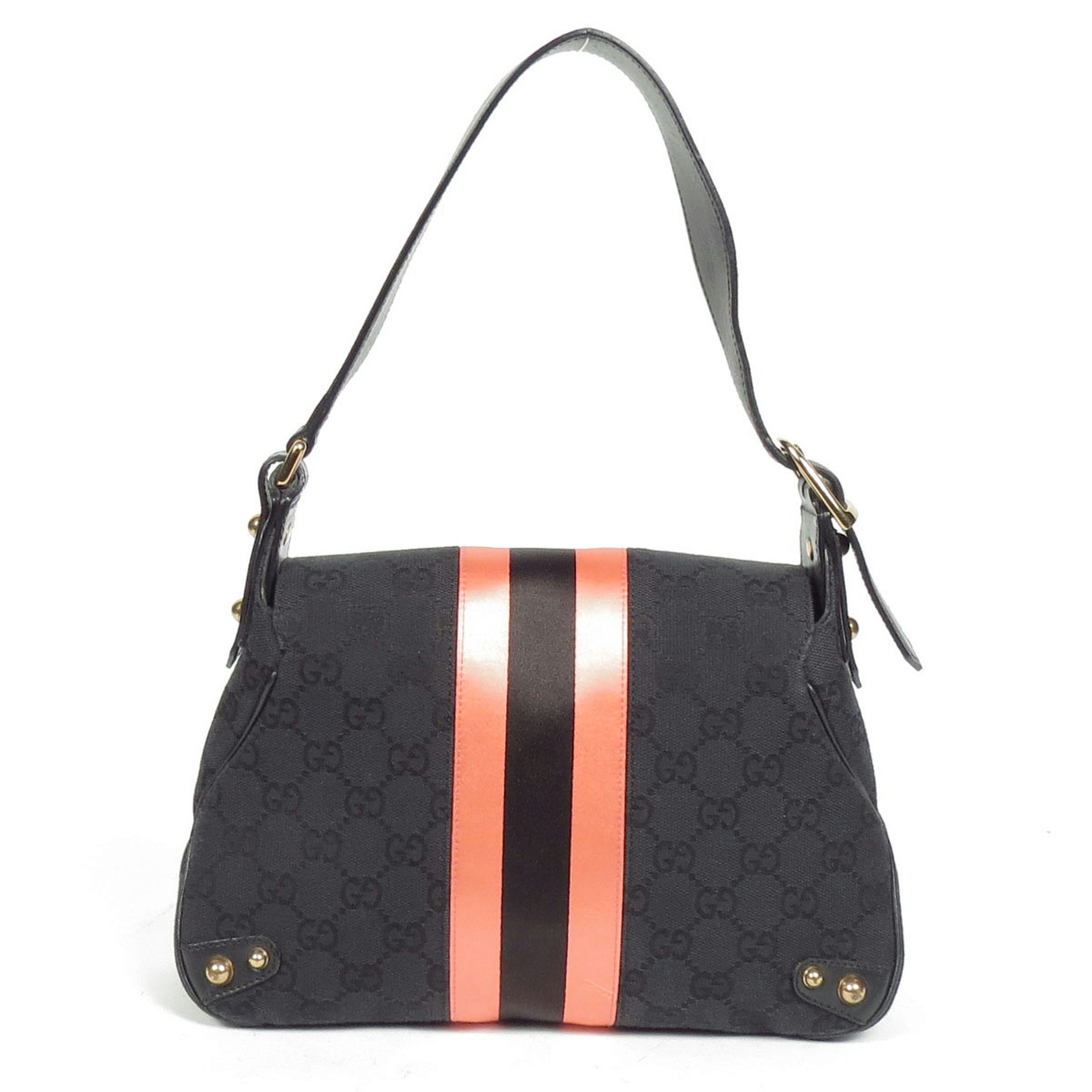Gucci Black Logo Canvas Pink Stripe Handbag Horsebit ...