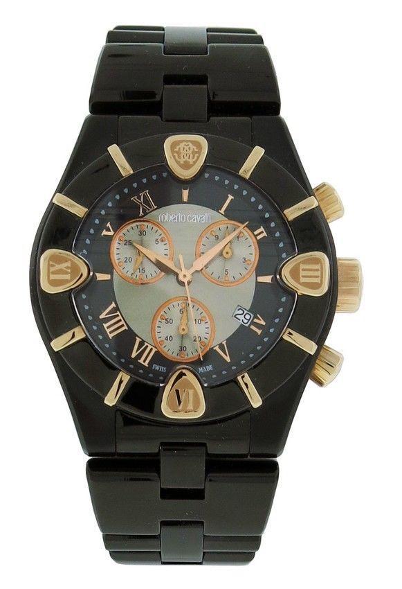 07973bb1470 Details about Roberto Cavalli R7253616045 Diamond Time Men s Black  Chronograph Date Watch
