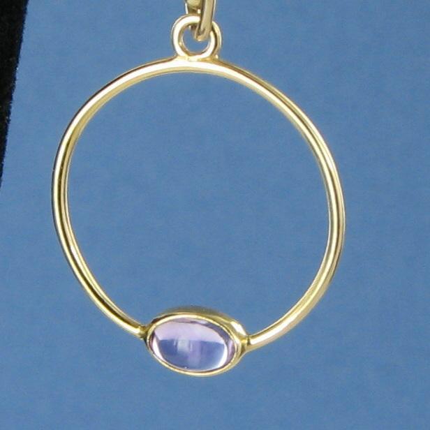 Pandora Hoop Earrings: Pandora 250406AM Amethyst Hoop Drop Earrings 14k YG NO