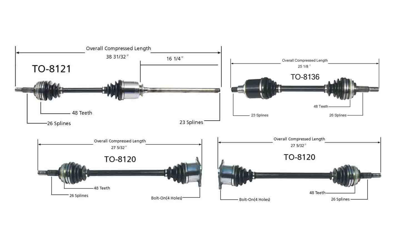 RX300 /& HIGHLANDER AWD 2001-2003 Rear Left /& Right CV Axle Shaft