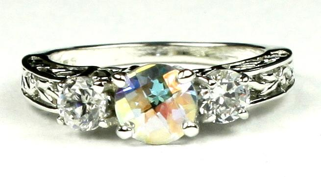 SR254 925 Sterling Silver Engagement Ring Citrine w// Accents
