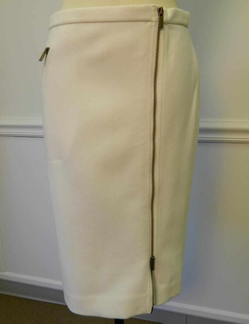 jcrew asymmetrical zip pencil skirt wool ivory 6p 138