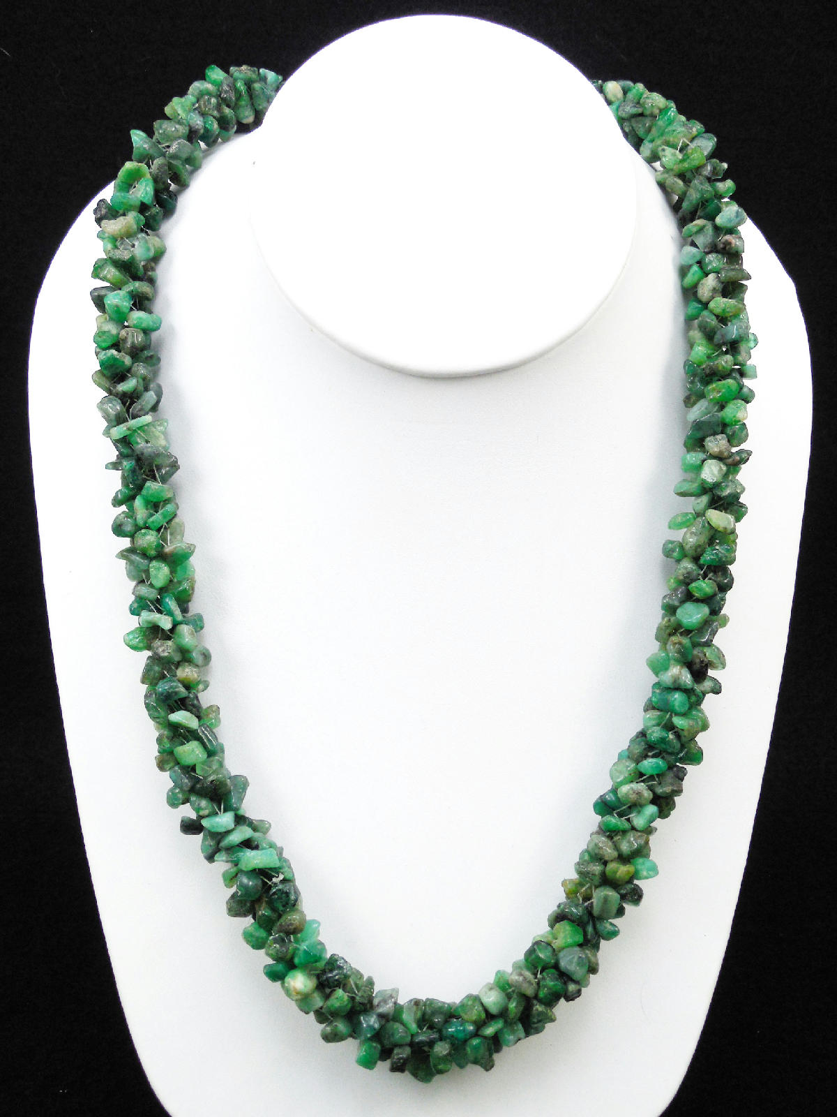 Vintage 1960s Raw Rough Emerald Beaded Necklace Natural ... - photo#12