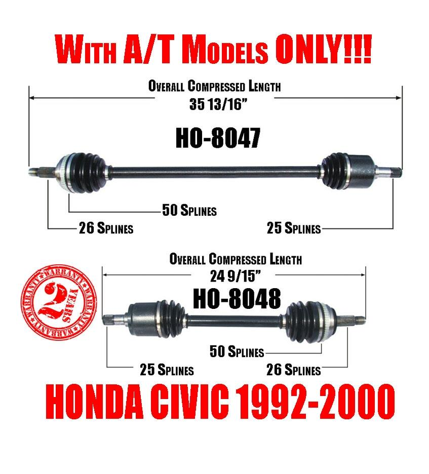 front left  u0026 right cv shaft axles honda civic 92