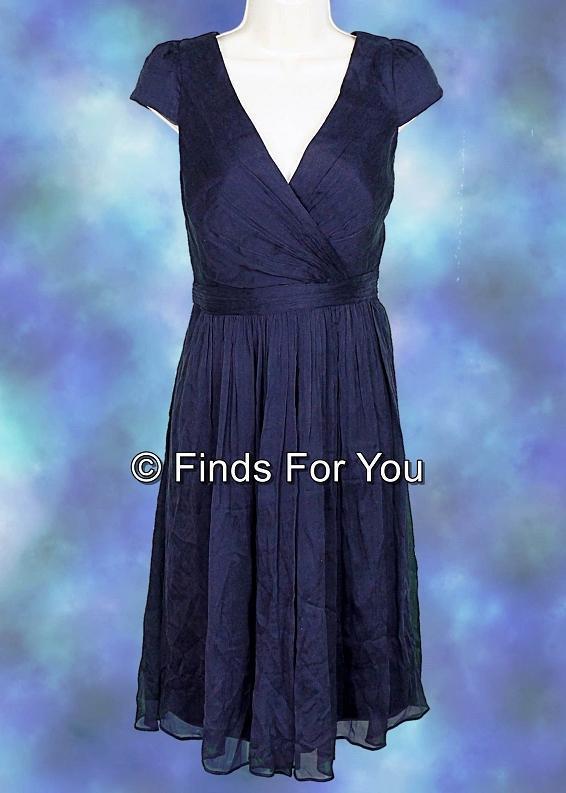 J Crew Mirabelle Dress Silk Chiffon Tail Bridesmaid Formal 4 Nvy 66737