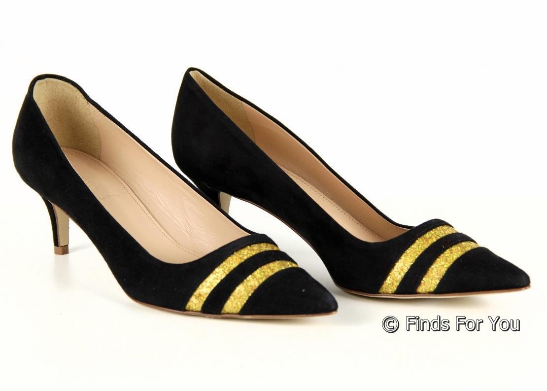3e0d9e89dff J Crew Dulci Glitter Stripe Kitten Heels In Black 7.5 B6779 Womens ...