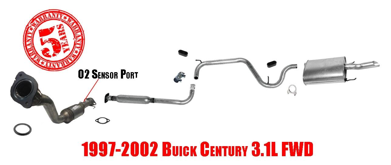 Buick Century 31l V6 9702 Catalytic Converter Resonator Pipe And Muffler: 2001 Buick Century Exhaust System At Woreks.co