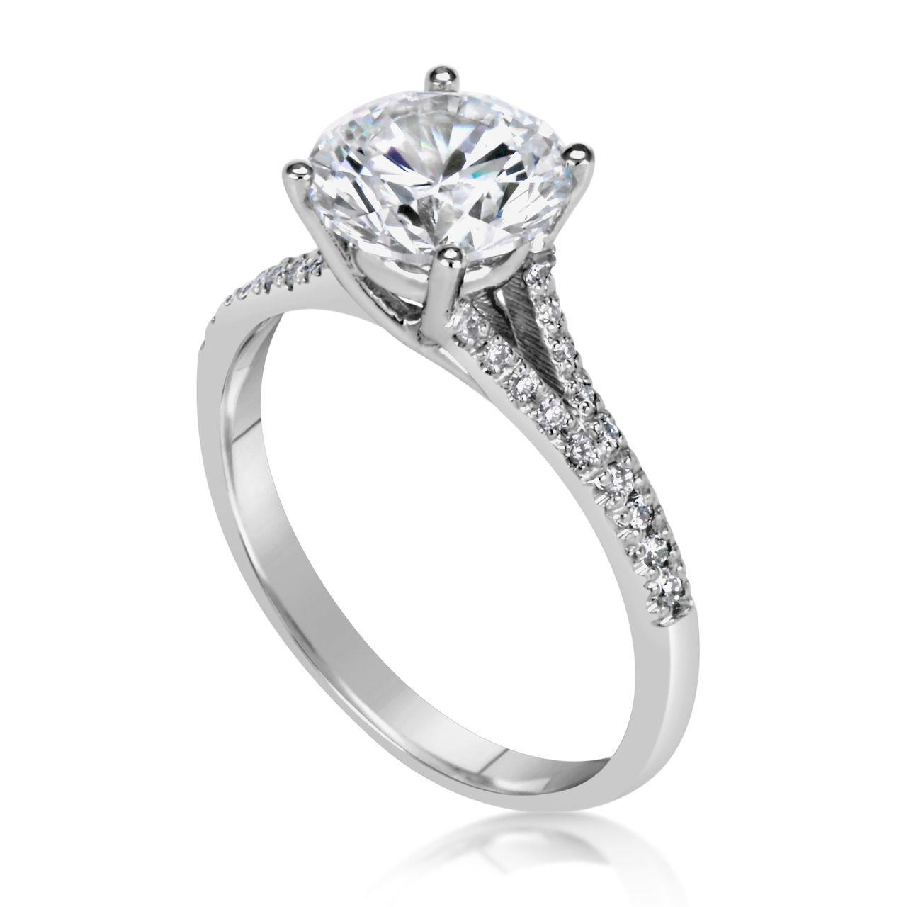 2 5 ct cut d si1 engagement ring 14k white