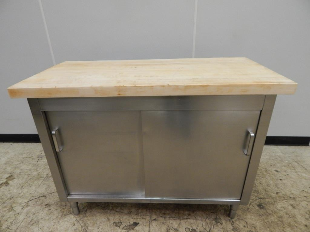 stainless steel cabinet table butcher block top 50 quot x 24
