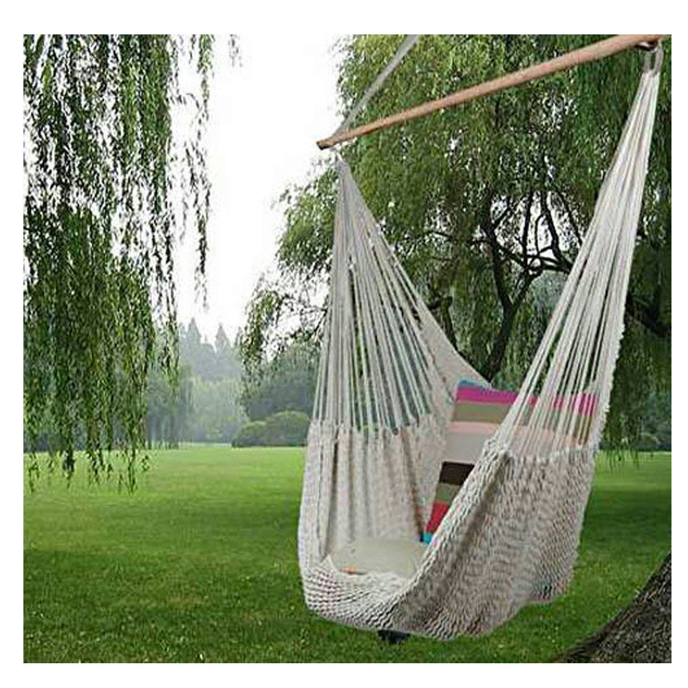 2016 New Hanging Cotton Deluxe Rope Hammock Chair Patio ...