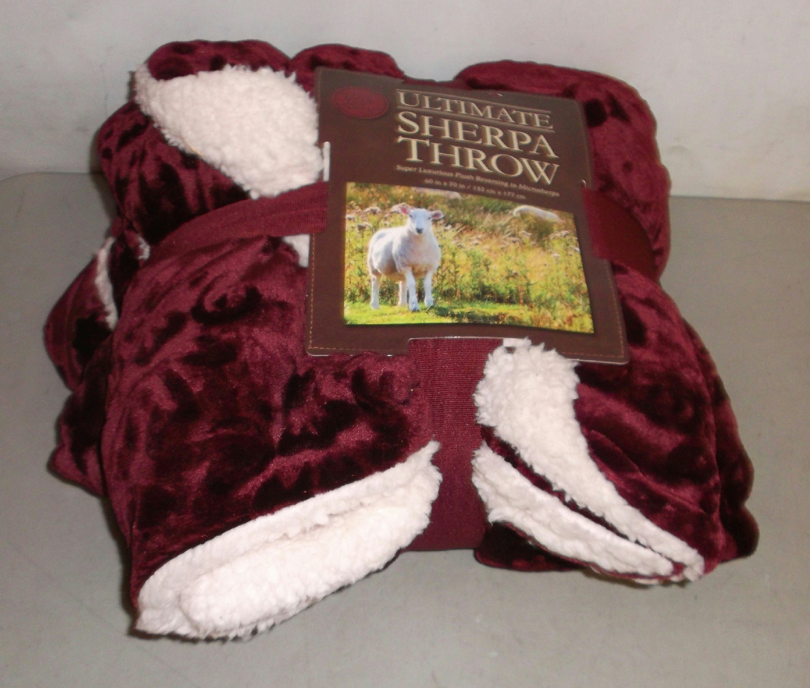 Life comfort ultimate sherpa throw burgundy 60x70 for Fenster 60x70