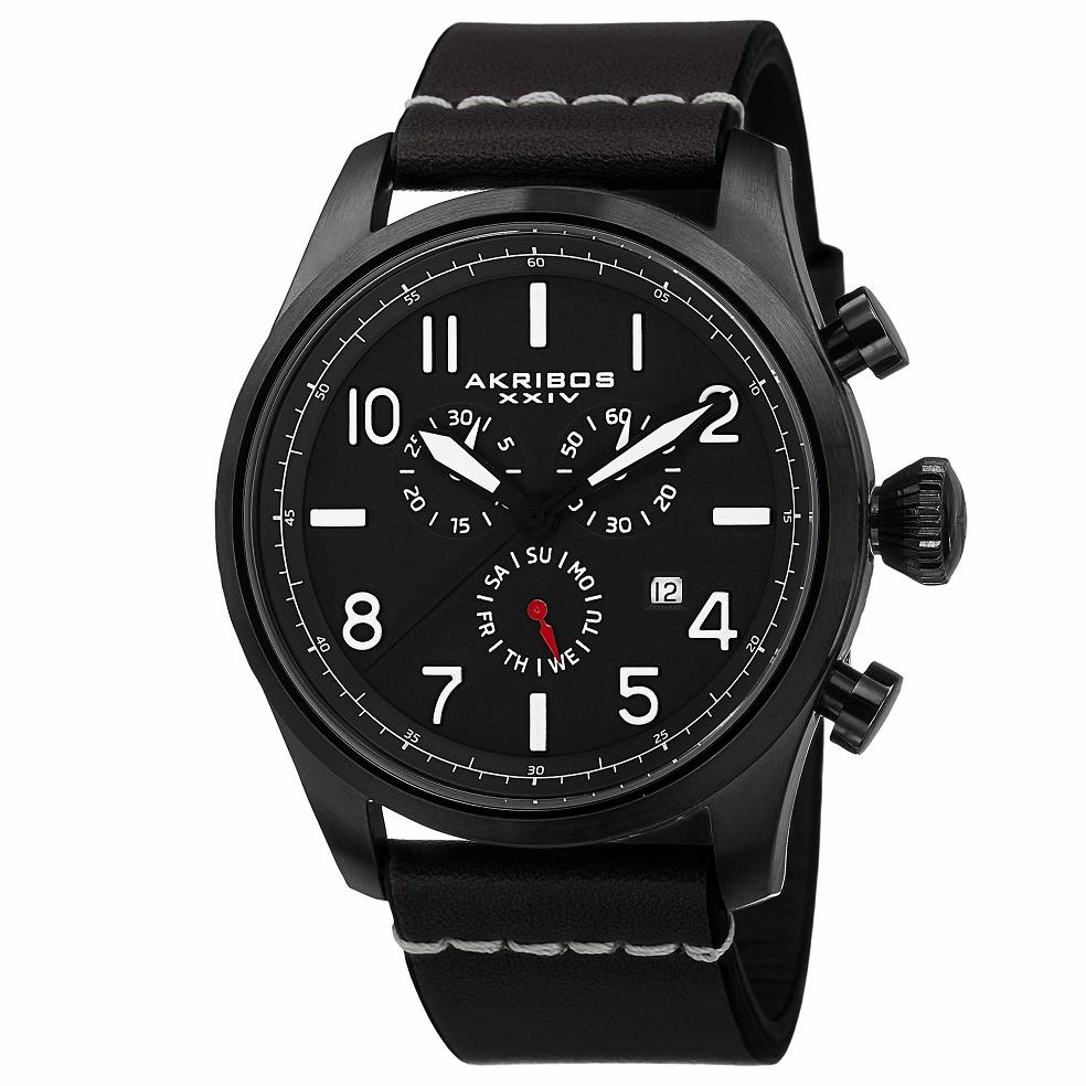 Akribos xxiv ak705bk swiss chronograph day date leather strap black mens watch ebay for Akribos watches