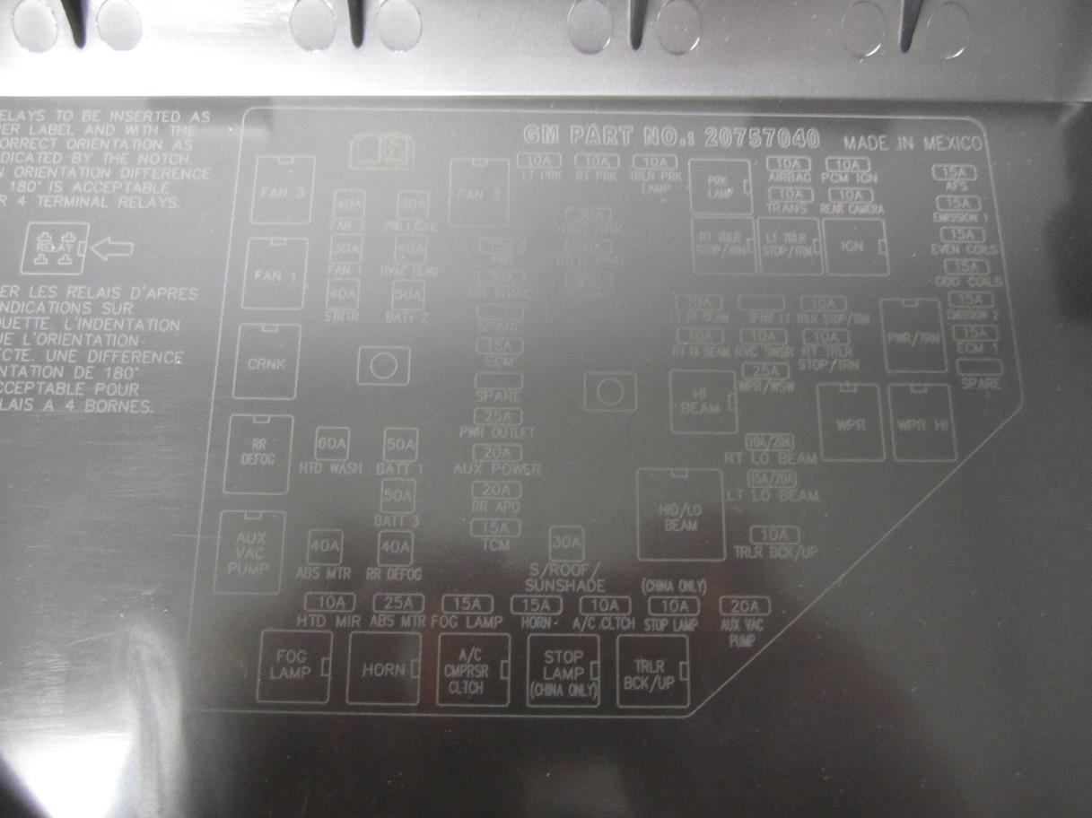 2009 Gmc Acadia Fuse Box Another Blog About Wiring Diagram 2012 New Oem Gm 3 6l V6 And Relay Location