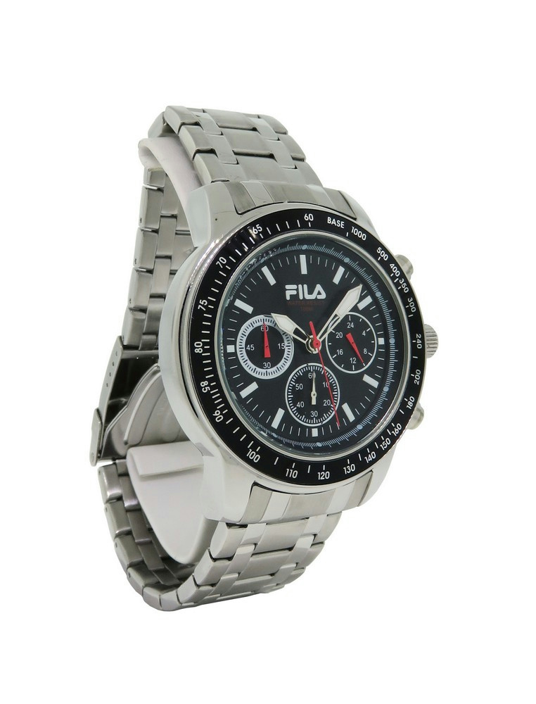 Fila fa0783 21 cortina men 39 s stainless steel black chronograph analog watch for Fila watches