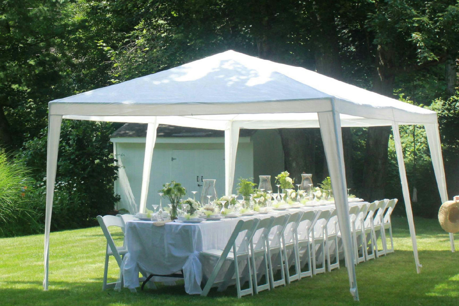 Quictent 10 x 20 outdoor heavy duty wedding gazebo party tent canopy w sidewall ebay - Decorating a canopy tent ...