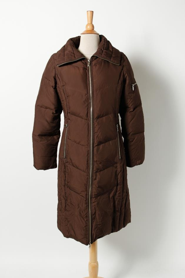 michael michael kors brown puffer quilted long zip winter coat jacket trench s ebay. Black Bedroom Furniture Sets. Home Design Ideas