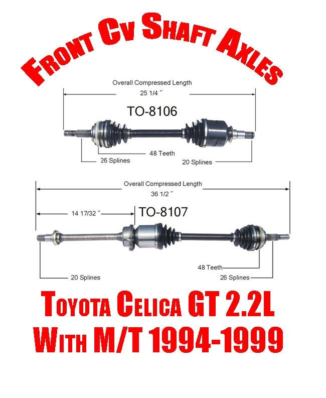 Brand New 12pc Front Suspension Kit For 1994 1999 Toyota: Brand New Front Cv Shaft Axles For Toyota Celica GT 2.2L