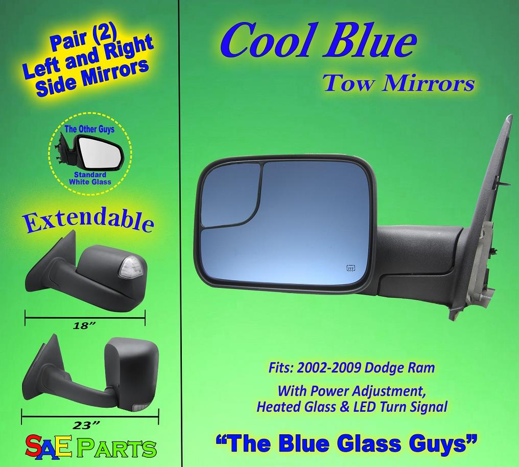 2 Set of Power // Heated // Turn Signal *NEW* BLUE GLASS Truck Tow Mirrors