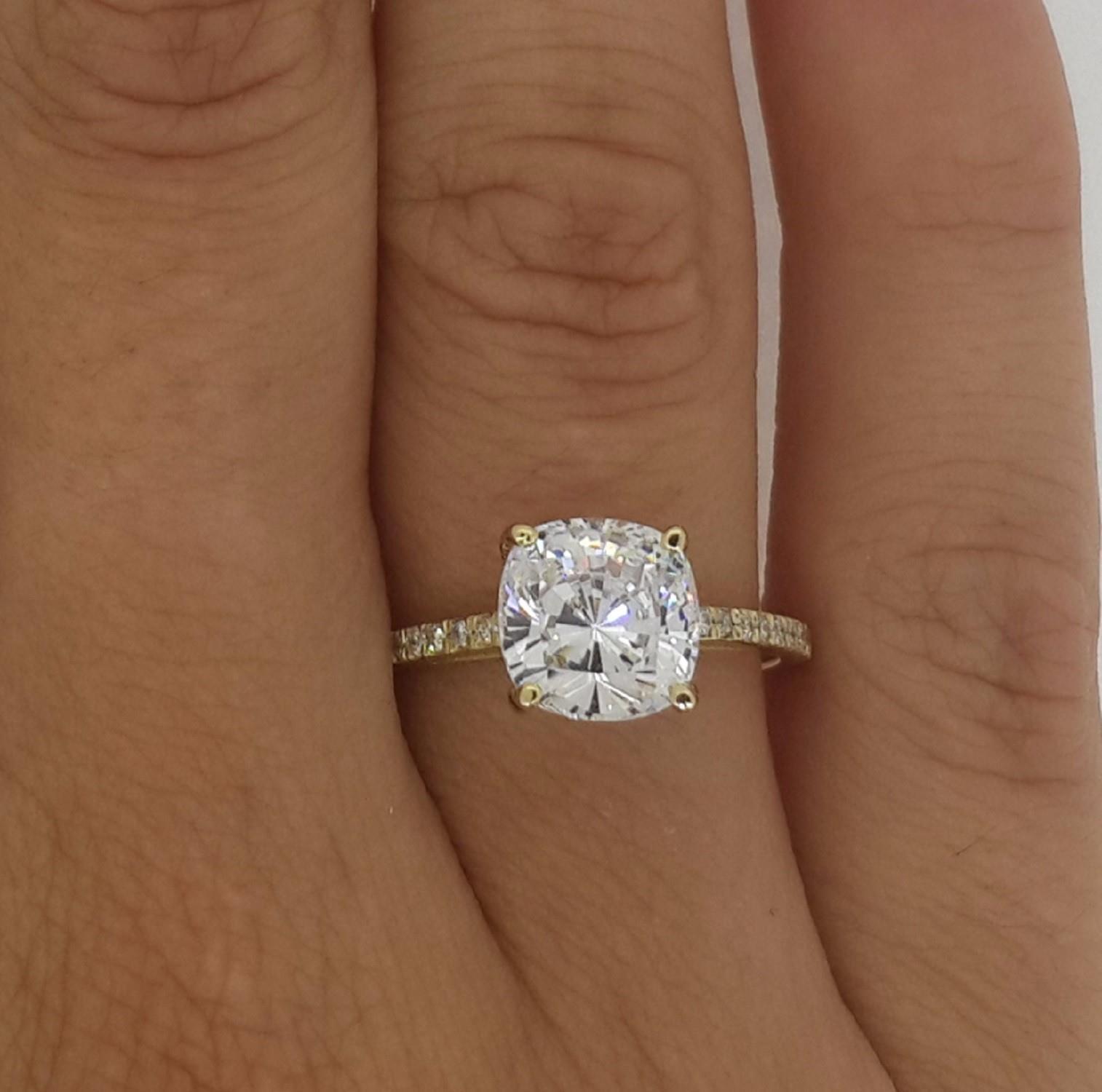 2 5 ct enhanced vs2 f cushion cut diamond engagement ring. Black Bedroom Furniture Sets. Home Design Ideas