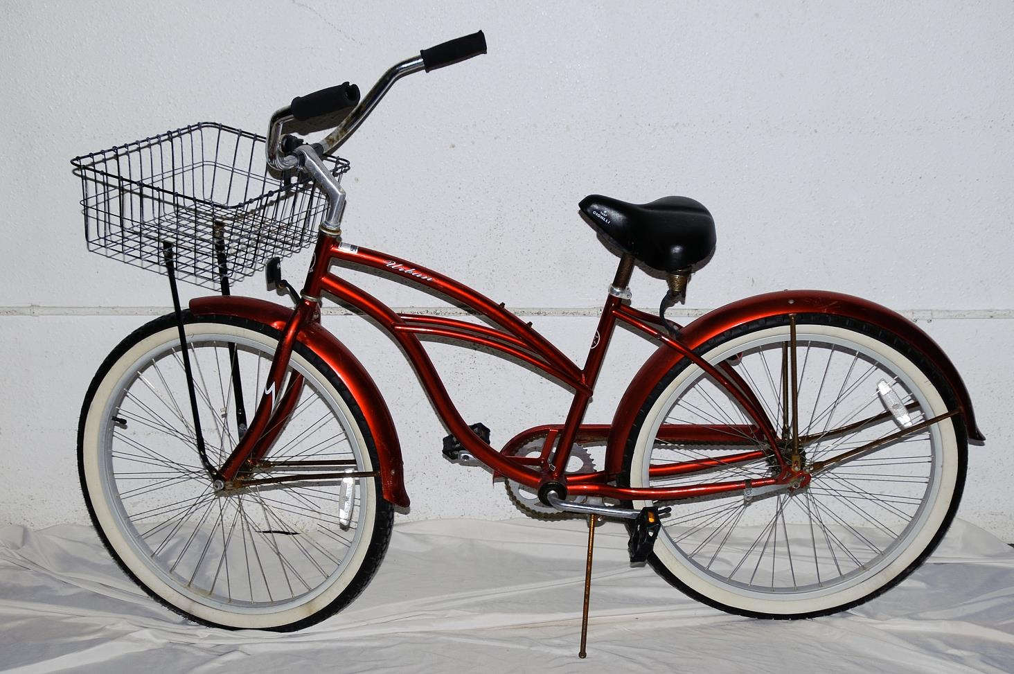 Urban Vintage Bike Bicycle Red Beach Cruiser With Front Basket 17quot Gione