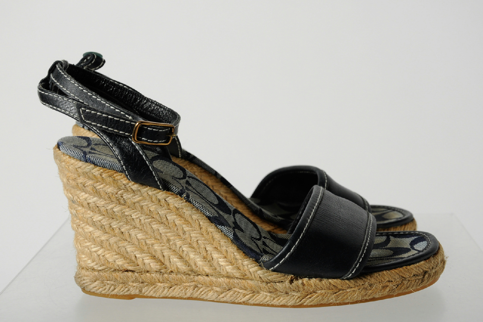 Coach Navy Blue Leather Strappy Ankle Strap Espadrille ...