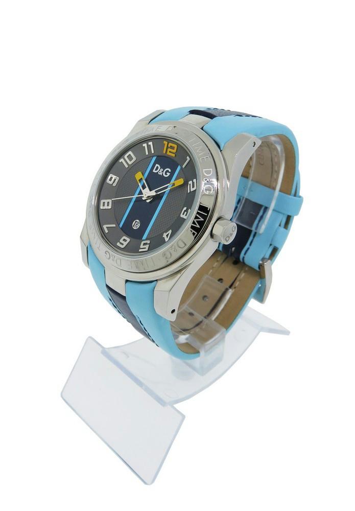 c2b46dc5 Dolce & Gabbana Time DW0217 Men's Round Date Blue Leather Analog ...