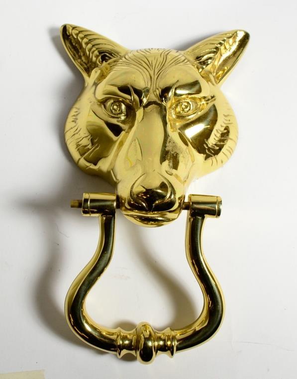 Heavy brass wolf 39 s head door knocker ebay - Wolf head door knocker ...