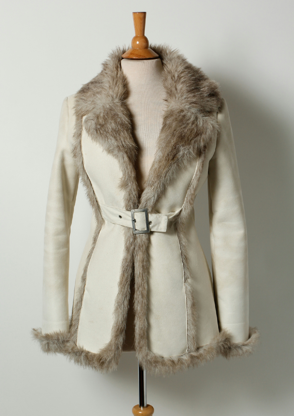 Bebe Cream Faux Suede Gray Faux Fur Collar Lining Belted