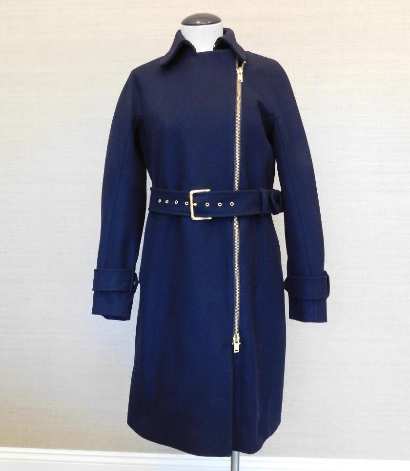 JCrew $378 Petite Belted Zip Trench Coat in Wool Melton 0P Navy