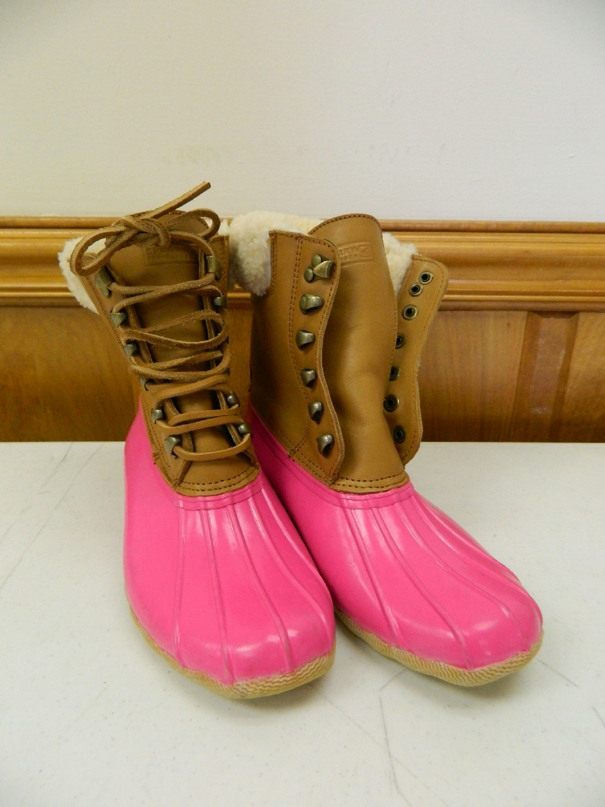sperry top sider j crew leather shearwater boots womens 7